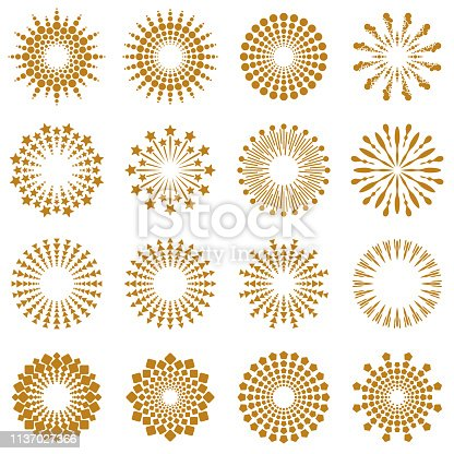Vector Illustration of a beautiful Set Collection with Golden Geometric Burst Rays