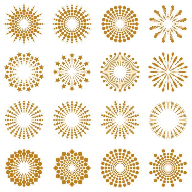 bildbanksillustrationer, clip art samt tecknat material och ikoner med gyllene geometriska burst rays collection - celebrities of age