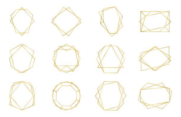 stockillustraties, clipart, cartoons en iconen met gouden geometrische frame. luxe bruiloft uitnodiging veelvlak art deco elementen, moderne grens vorm. vector decoratieve templates - veelvlakkig