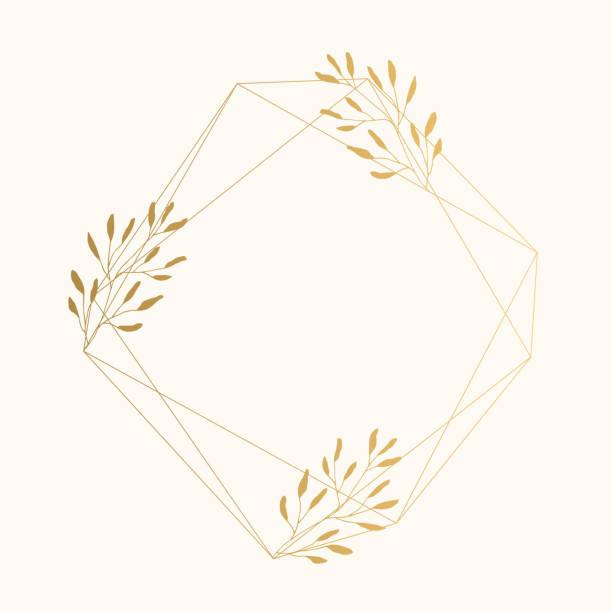 geometrische goldrahmen mit blättern für luxus-hochzeit-design - monogrammarten stock-grafiken, -clipart, -cartoons und -symbole