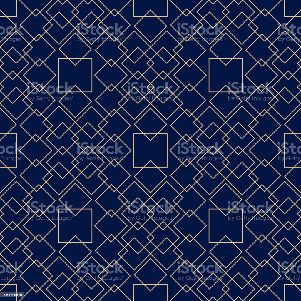 Golden geometric ornament on blue background. Seamless pattern royalty-free golden geometric ornament on blue background seamless pattern stock vector art & more images of abstract
