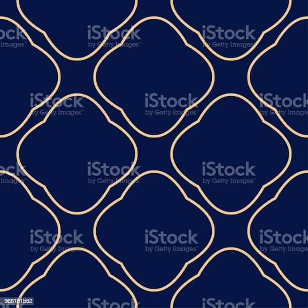 Gyllene Geometrisk Print På Mörkblå Bakgrund Seamless Mönster-vektorgrafik och fler bilder på Abstrakt