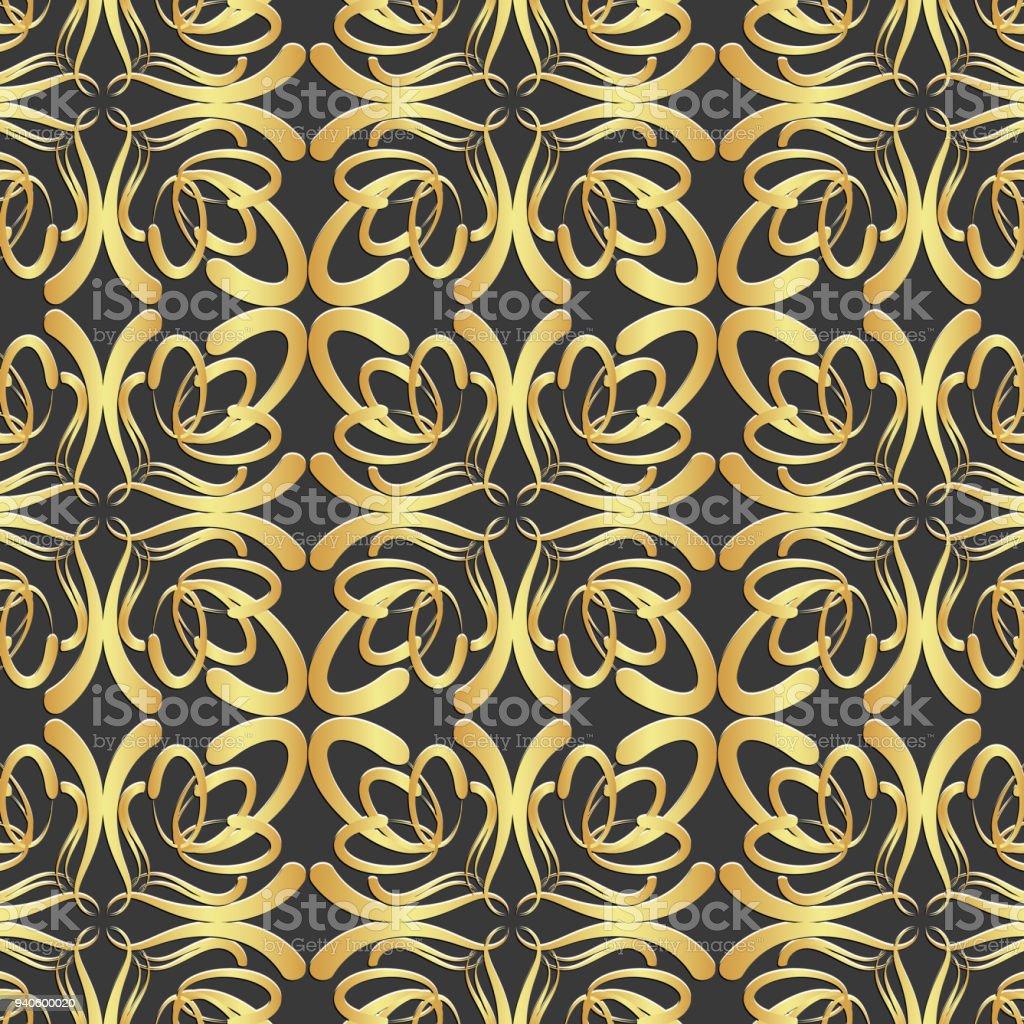 Padrão sem emenda geométrico dourado - ilustração de arte em vetor