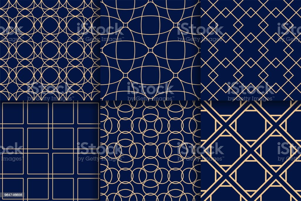 Golden geometric seamless patterns on blue backgrounds royalty-free golden geometric seamless patterns on blue backgrounds stock vector art & more images of abstract