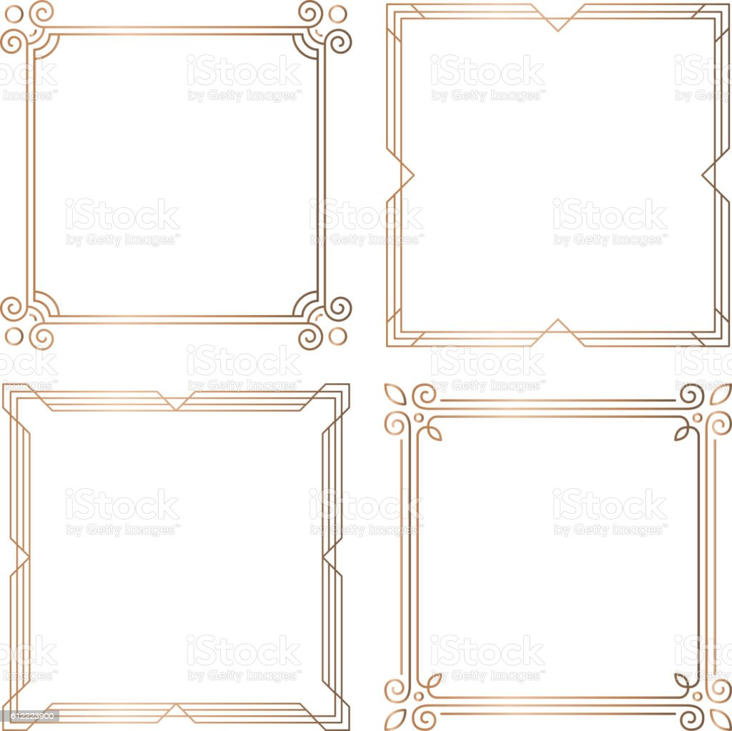 Golden geometric square frames, design elements vector art illustration