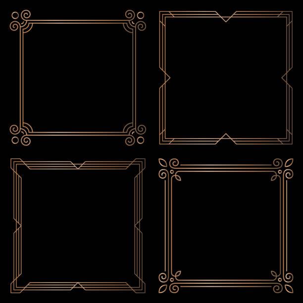 Golden geometric square frames, design elements vector art illustration