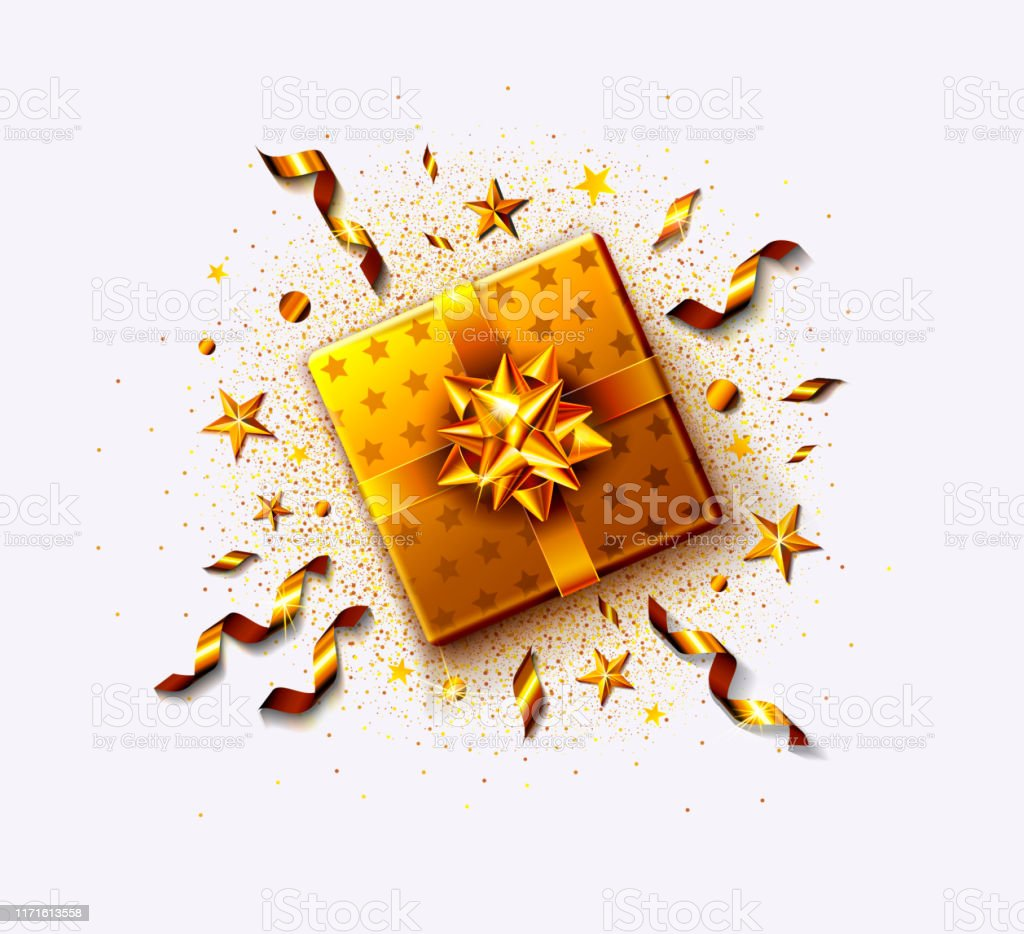 Golden gift box with streamers, confetti, stars, gold ribbon and bow....