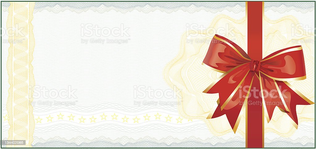 Golden Gift Certificate or Discount Coupon template royalty-free stock vector art