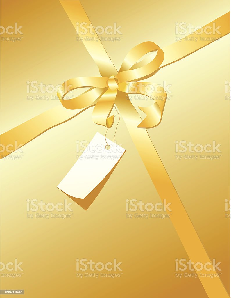 Golden Gift with Tag royalty-free stock vector art