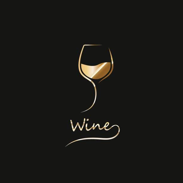 bildbanksillustrationer, clip art samt tecknat material och ikoner med gyllene glaset vin - vitt vin glas