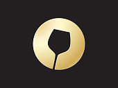 golden glass wine icon