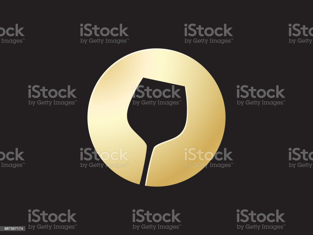 golden glass wine icon vector art illustration
