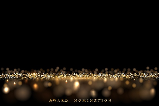 Golden glitter abstract background. Shining sparkling particles of light. Modern bright vector illustration. Defocused glowing pattern with blurs. New year, xmas card, award nomination