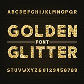 Golden glitter alphabet font. Bold letters and numbers. Stock vector typography for your design.