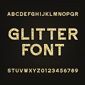 Golden glitter alphabet font. Type letters and numbers. Stock vector typography for your design.