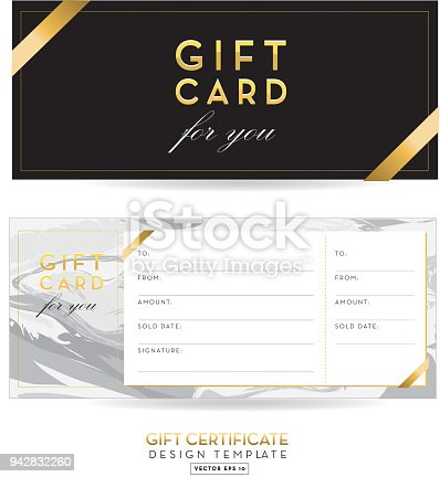 Golden Glitter And Marble Gift Certificate Design Background Stock