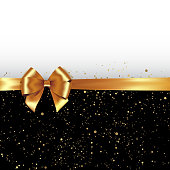 Vector Golden glitter background with gold silk bow and ribbon