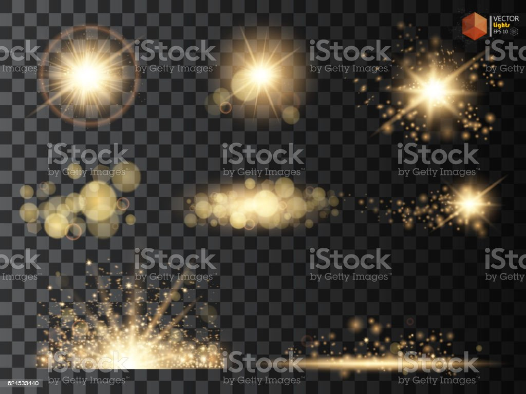 Golden glitter bokeh lights and sparkles. Shining star, sun particles vector art illustration