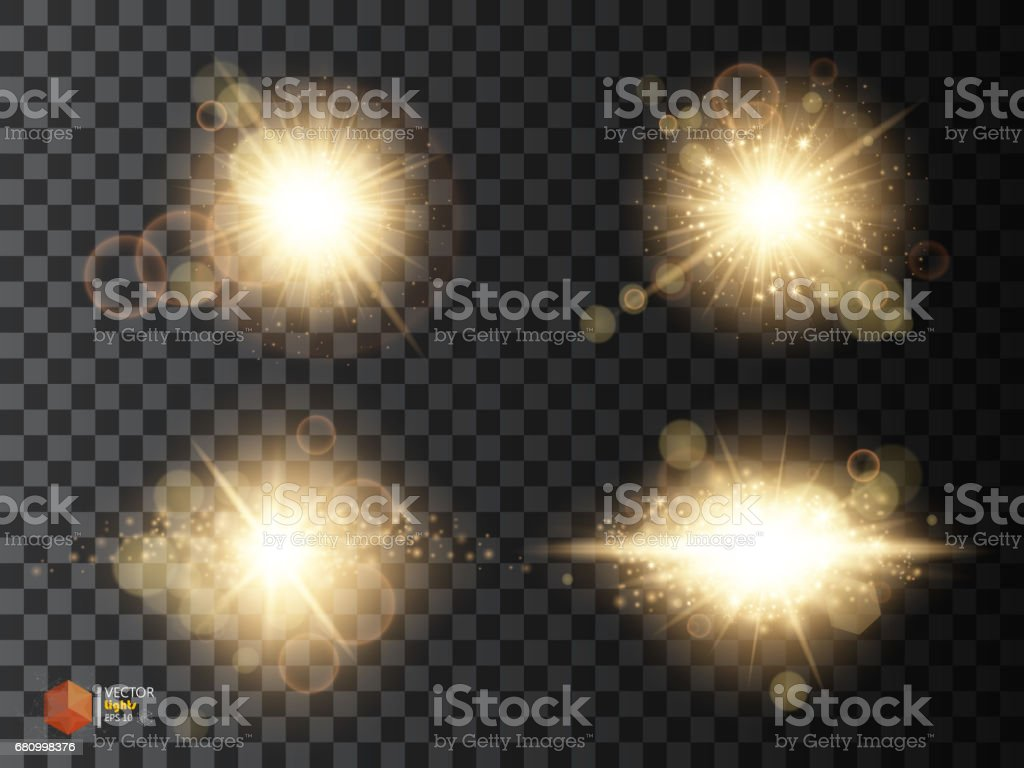 Golden glitter bokeh lights and sparkles. Shining star, sun particles  sparks with lens flare effect on transparent background royalty-free golden glitter bokeh lights and sparkles shining star sun particles sparks with lens flare effect on transparent background stock vector art & more images of backdrop