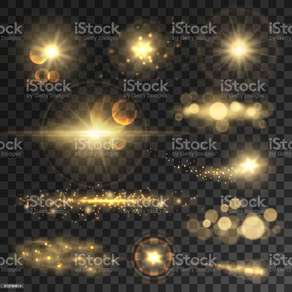 Golden glitter bokeh lights and sparkles vector art illustration