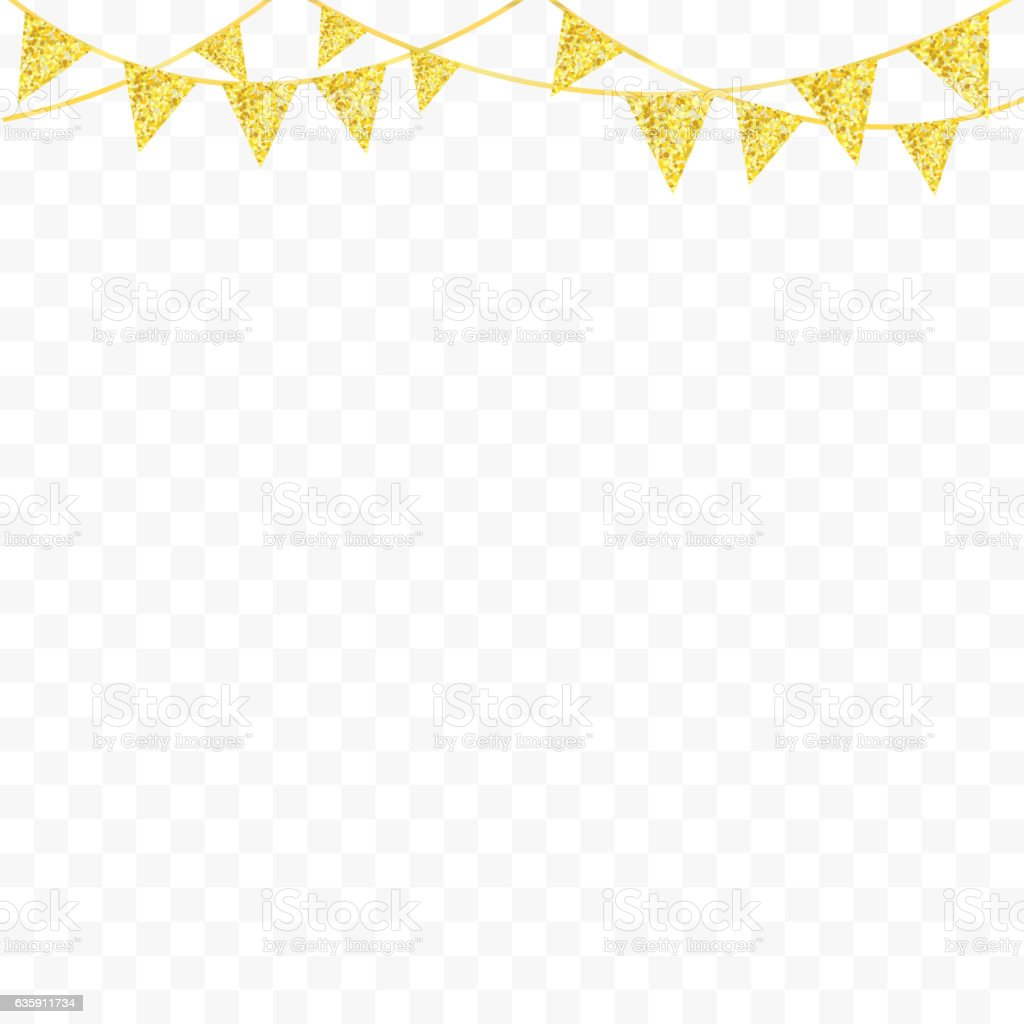 Golden glitter bunting flags isolated for your decoration. Vector - ilustración de arte vectorial