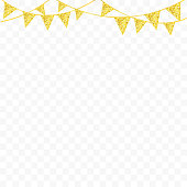 Golden glitter bunting flags isolated for your decoration. Vector