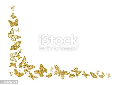 istock Golden glitter butterfly silhouettes kite texture in corner on white. Elegant butterflies hover theme vector in gold. Cool insect soar backdrop for invitation, fashion, luxury. Vector illustration. 1138082736