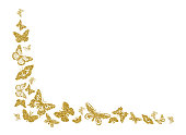 Golden glitter butterfly silhouettes kite texture in corner on white. Elegant butterflies hover theme vector in gold. Cool insect soar backdrop for invitation, fashion, luxury. Vector illustration