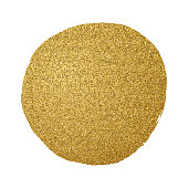 Gold Elegant Circle Background with Glitter Texture.