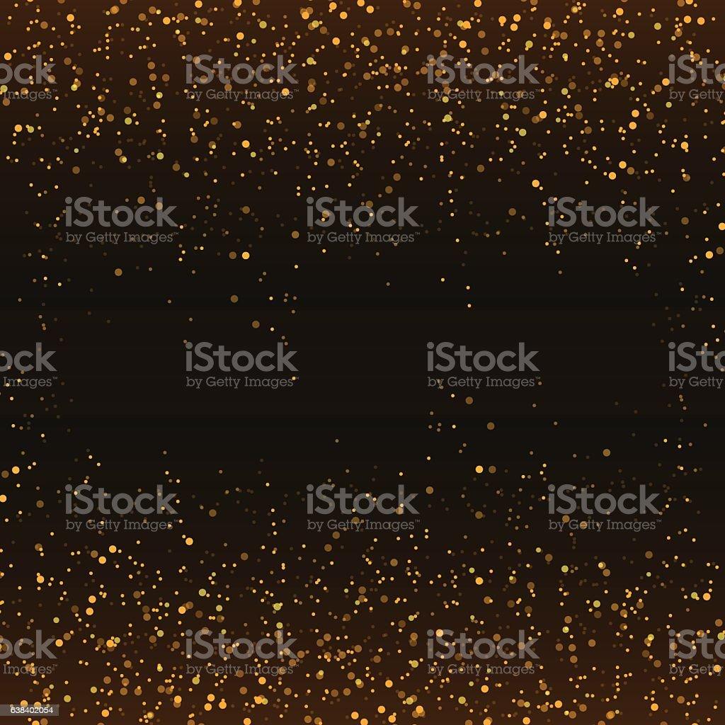Golden glitter confetti falling on black vector background. - illustrazione arte vettoriale
