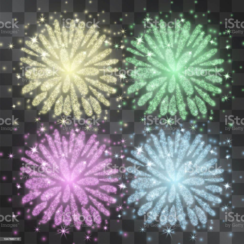 Ilustracion De Fuegos Artificiales De Oro Brillo De Luz Efecto