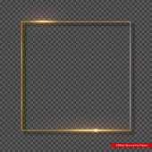 Golden glitter frame with glowing lights. Decorative element for holiday design on transparent background. Vector illustration.