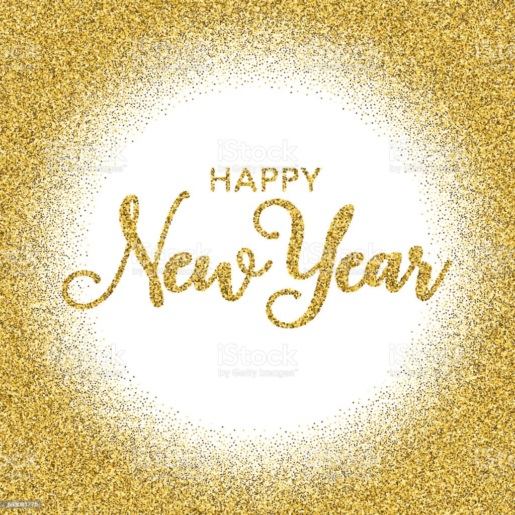 golden glitter happy new year typography on transparent background royalty free golden glitter happy new