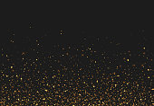 Golden glitter light effect. Background bright shining confetti particles.