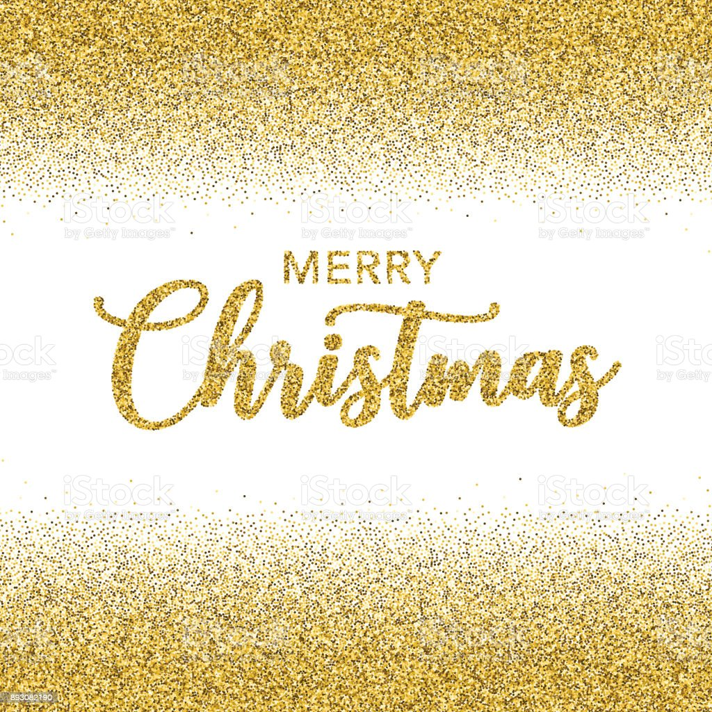 Merry Christmas No Background.Golden Glitter Merry Christmas Typography On Transparent
