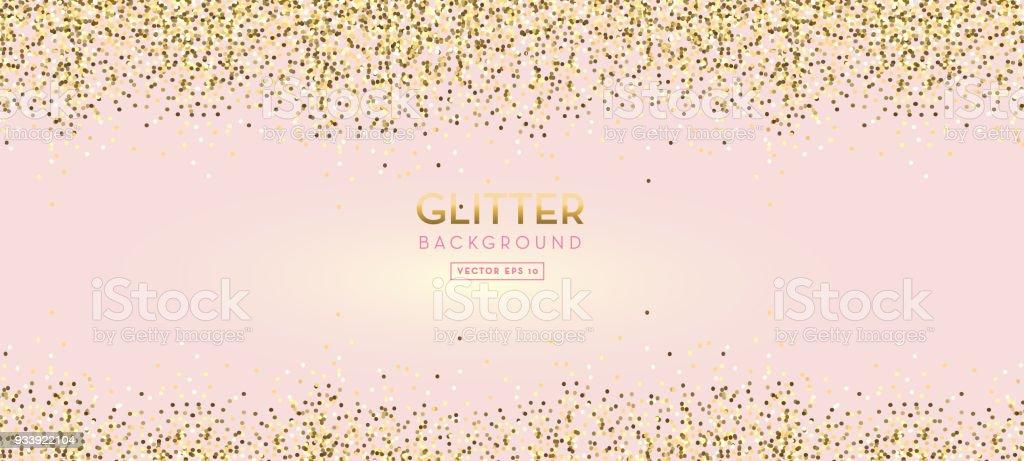 Golden Glitter on pastel pink design background vector art illustration
