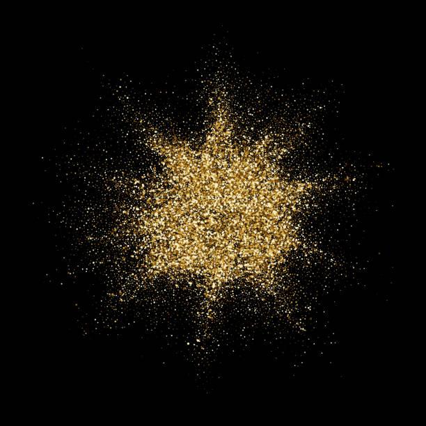 Golden Glitter-Partikel-Explosion oder Sternenstaub Splatter. Vektor abstrakte funkelnden Feuerwerk Konfetti auf schwarzem Hintergrund für Weihnachten oder Luxus Kosmetik Modedesign – Vektorgrafik