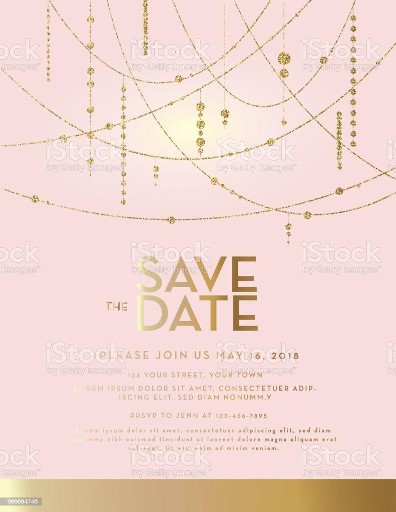 Golden Glitter Save the Date pink pastel wedding invitation design template vector art illustration