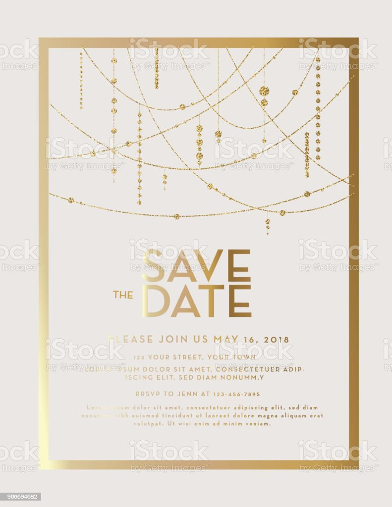 Golden Glitter Save the Date wedding invitation design template