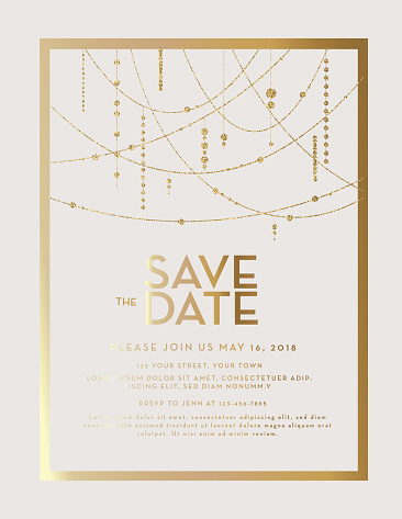 Golden Glitter Save the Date wedding invitation design template
