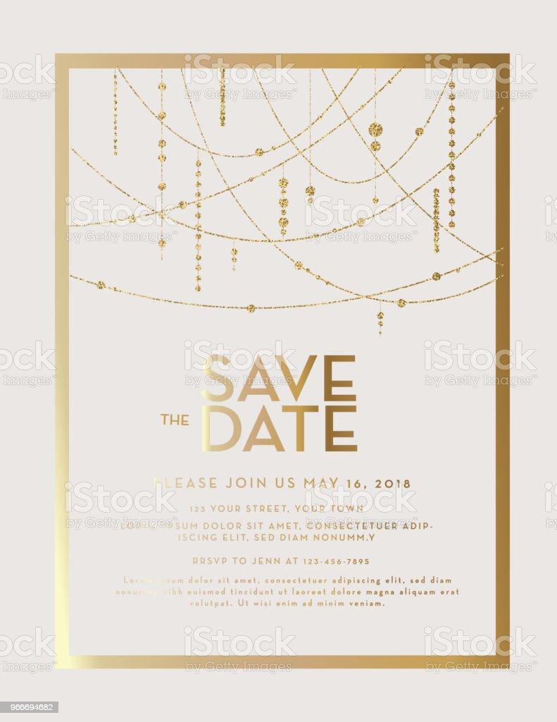 Golden Glitter Save the Date wedding invitation design template vector art illustration