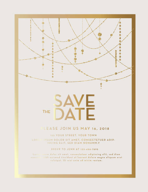 illustrazioni stock, clip art, cartoni animati e icone di tendenza di golden glitter save the date wedding invitation design template - matrimonio