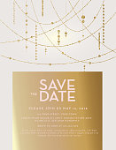 Vector illustration of Golden Glitter Save the Date wedding invitation design template. Includes background, sample placement text and string lights.