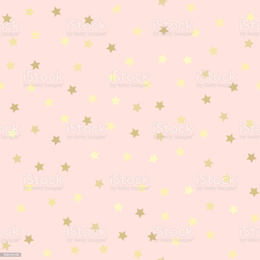 Golden glitter seamless pattern, pink background vector art illustration