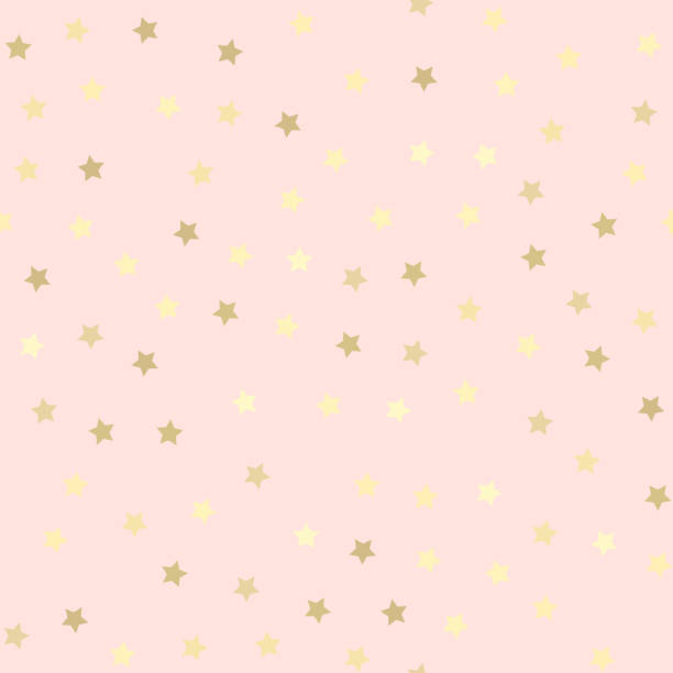 Golden glitter seamless pattern, pink background - ilustración de arte vectorial