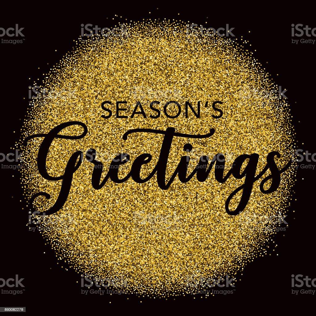 Golden Glitter Seasons Greetings Typography On Black Stock Vector