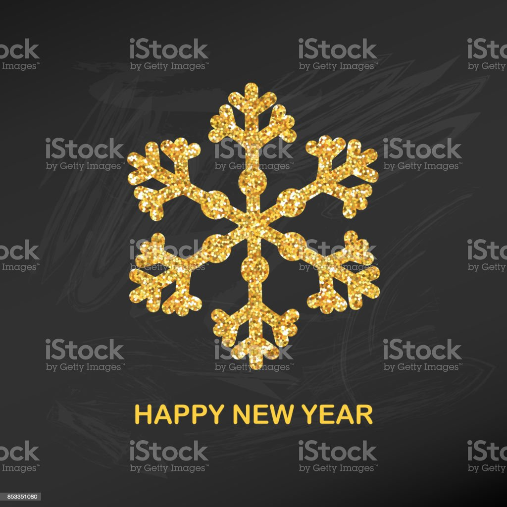 golden glitter snowflake happy new year greeting card for your invitation banner calendar in