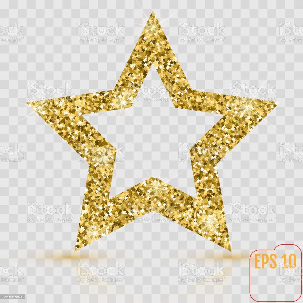 golden glitter star of many small stars vector banner on white