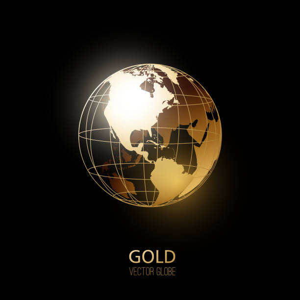 illustrazioni stock, clip art, cartoni animati e icone di tendenza di golden globe - glass world