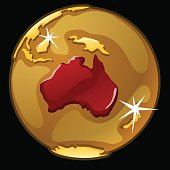 Golden globe with marked of Australia countries